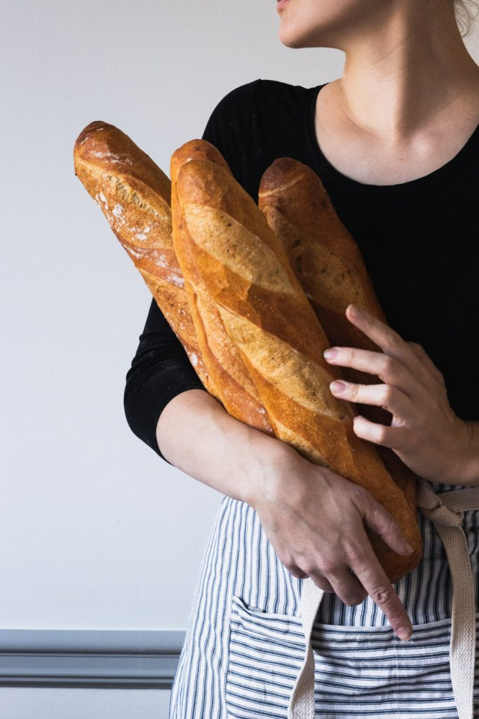 Crusty, freshly baked French baguettes